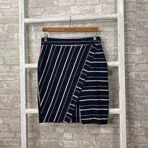 Loft Striped Wrap Pencil Skirt Size 8
